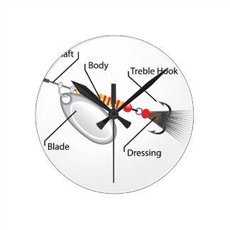 Vetor da lâmina da prata da atração da pesca do relógio redondo
