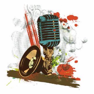 vetor do microfone do vintage do grunge escultura foto