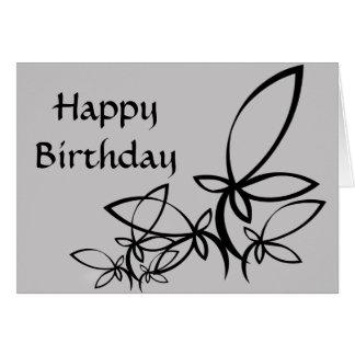 Vetores cinzentos & pretos, feliz aniversario - pe cartoes