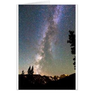 Via Láctea da montanha rochosa e estrela de queda Cartão Comemorativo