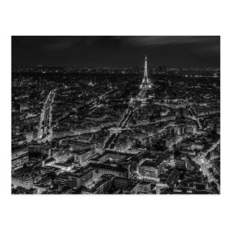Viagem branco preto da torre Eiffel da noite da Cartão Postal