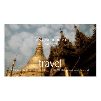 Viagem - cartão de visita dourado do pagode