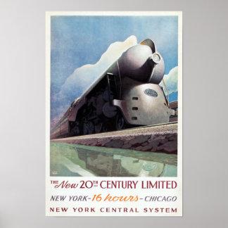 Viagem da estrada de ferro do art deco do vintage, poster