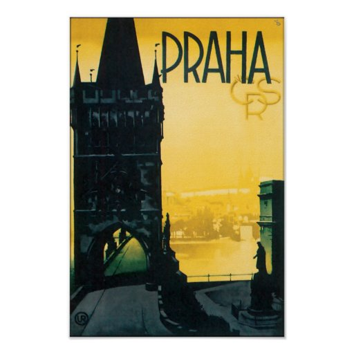 Viagem da multa de Praga do vintage (Praha) Poster