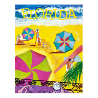 Viagem da praia de Florida do vintage Cartão Postal