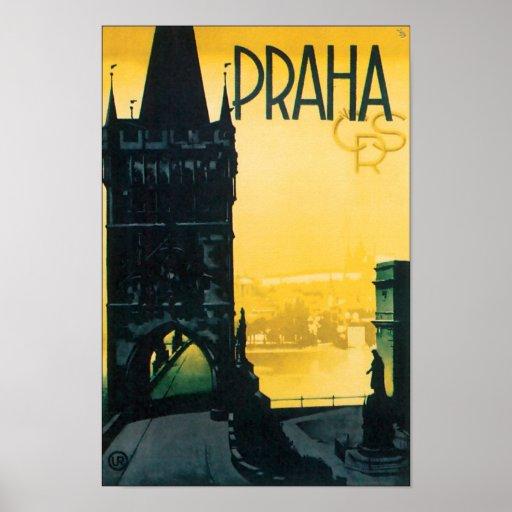 Viagem de Praga do vintage (Praha) Posteres