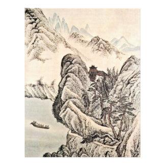 Viagem do barco no rio abaixo de um templo budista flyer 21.59 x 27.94cm