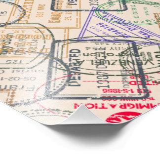 Viagem dos selos do passaporte impressão de foto