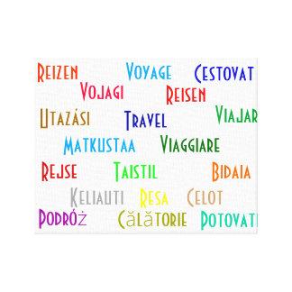 Viagem em diversas línguas européias impressão em tela canvas