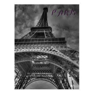 Viagem europeu de Paris da torre Eiffel preta & Cartão Postal