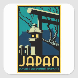 Viagem japonês do mundo do vintage das estradas de adesivo quadrado
