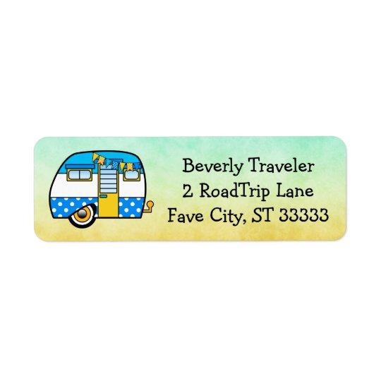 Viagem por estrada feita sob encomenda bonito etiqueta endereço de retorno
