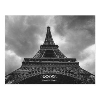 Viagem preto & branco do francês de Paris da torre Cartão Postal