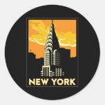 viagem retro do vintage de New York Estados Unidos Adesivos Em Formato Redondos