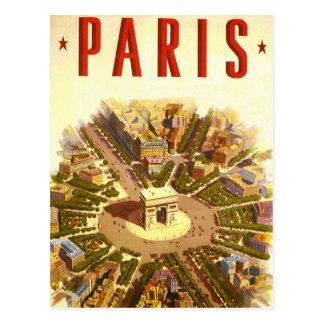 Viagens vintage, Arco do Triunfo Paris France Cartão Postal