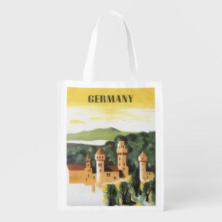 Viagens vintage, castelo alemão, Baviera Alemanha Sacolas Reusáveis
