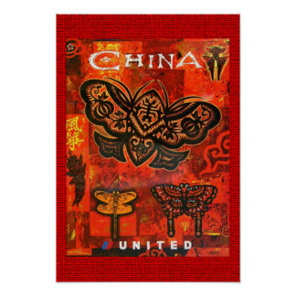 Viagens vintage China unida poster