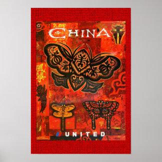 Viagens vintage China unida poster Pôster