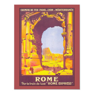Viagens vintage, coliseu do italiano de Roma Convite 10.79 X 13.97cm