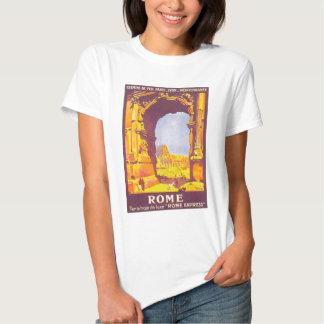 Viagens vintage, coliseu, italiano de Roma Italia Tshirts