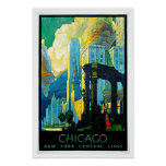 Viagens vintage de Chicago Illinois Poster
