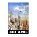 Viagens vintage de Milão Italia Cartão Postal