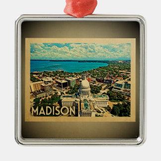 Viagens vintage do ornamento de Madison Wisconsin