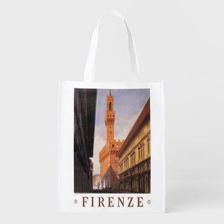 Viagens vintage, Firenze, Florença, Palazzo Sacolas Ecológicas Para Supermercado