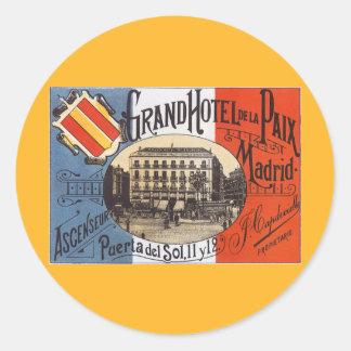 Viagens vintage, hotel grande Paix, Madrid, Adesivo