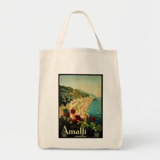Viagens vintage, praia italiana da costa de Amalfi Sacola Tote De Mercado