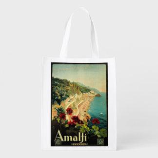 Viagens vintage, praia italiana da costa de Amalfi Sacolas Ecológicas Para Supermercado