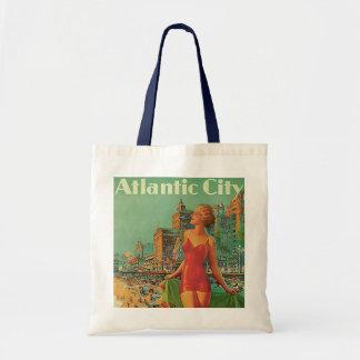 Viagens vintage; Recurso de Atlantic City, louro Sacola Tote Budget