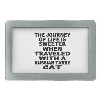 Viajado com o gato de gato malhado do russo