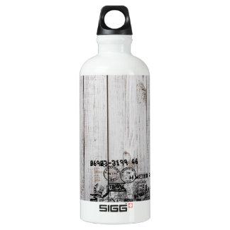 Viajante de madeira do Grunge (0.6L), branco Garrafa D'água De Alumínio