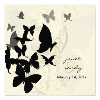 Vibração… pelo creme/preto das borboletas convite personalizados