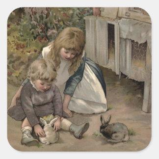 Victorian do vintage & bonito: Crianças & coelhos Adesivo Quadrado