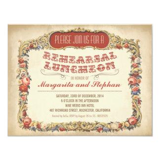 Victorian e vintage do almoço do ensaio convite 10.79 x 13.97cm