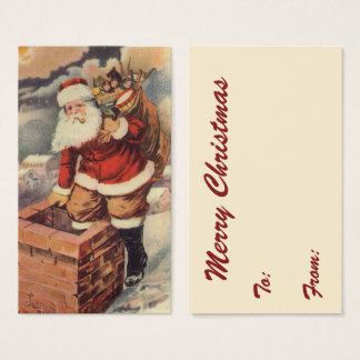 Victorian Papai Noel do natal vintage na chaminé Cartão De Visitas