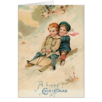 Victorian que Sledding o cartão do Natal feliz