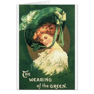 Victorian que veste o cartão do dia de St Patrick