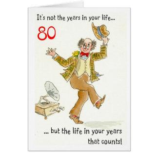 """""""Vida cartão de aniversário do 80 nos seus anos"""""""