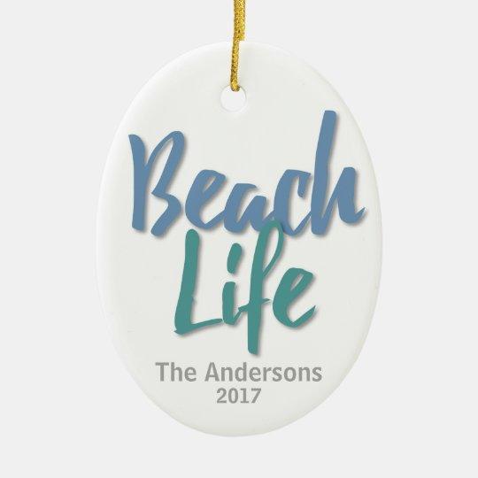 Vida da praia ornamento de cerâmica oval
