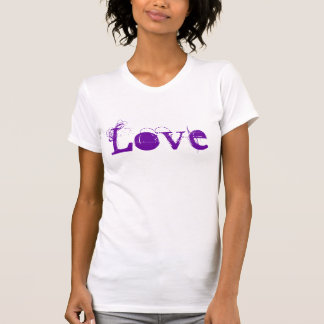 Vida do amor em roxo do vintage e alaranjado camiseta
