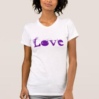 Vida do amor em roxo do vintage e verde brancos camisetas