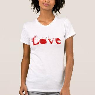 Vida do amor no vermelho branco e no ouro do t-shirt