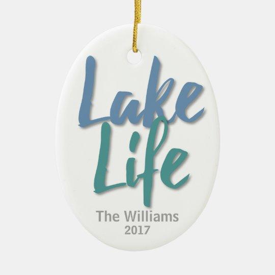 Vida do lago ornamento de cerâmica oval