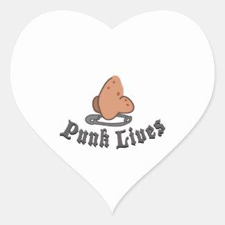 Vidas do punk adesivos de corações
