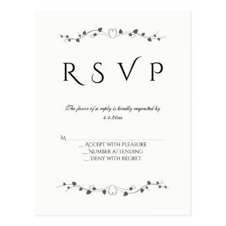 Videiras do coração que wedding cartão do rsvp cartão postal