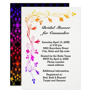 Videiras florais coloridas com chá de panela da convite 12.7 x 17.78cm