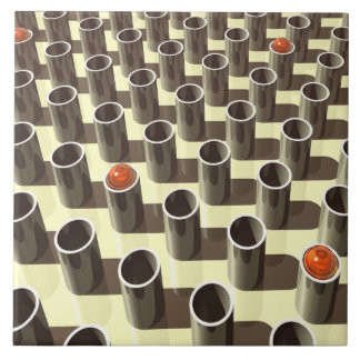 Vidro alaranjado na exposição azulejo quadrado grande